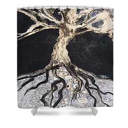 Growing Roots Shower Curtain by Tara Thelen