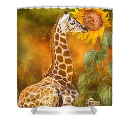 Growing Tall - Giraffe Shower Curtain
