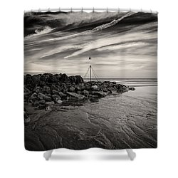 Groyne Marker Shower Curtain by Dave Bowman