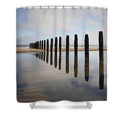 Groynes Blyth Northumberland Shower Curtain by Christine Giles