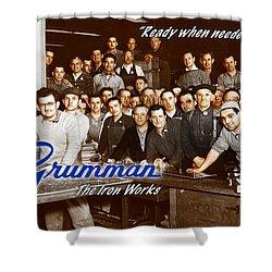 Grumman Iron Works Shop Workers Shower Curtain