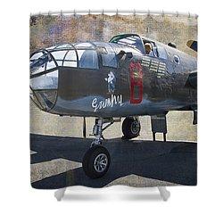 Grumpy  B-25 D Mitchell Bomber  /  43-3318 Shower Curtain by Daniel Hagerman