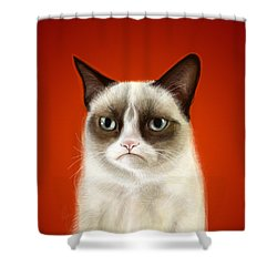 Grumpy Cat Shower Curtain by Olga Shvartsur