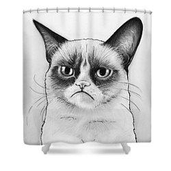 Grumpy Cat Portrait Shower Curtain