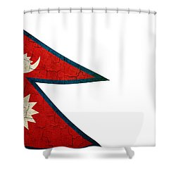 Grunge Nepal Flag Shower Curtain