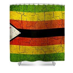 Grunge Zimbabwe Flag Shower Curtain