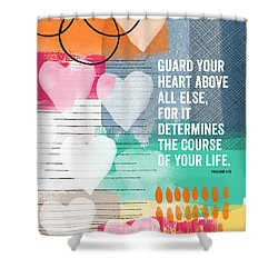 Guard Your Heart- Contemporary Scripture Art Shower Curtain by Linda Woods