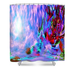 Shower Curtain featuring the digital art Guardian Angel  by Annie Zeno