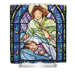 Guardian Angel With Sleeping Girl Shower Curtain