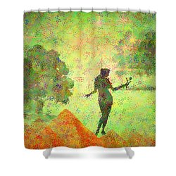 Guardian Of The Oasis Shower Curtain by Joyce Dickens