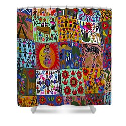 Guatemala Folk Art Quilt Shower Curtain