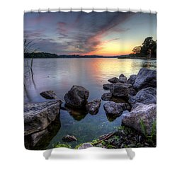 Guilford Lake Sunset Shower Curtain
