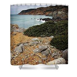 Guincho Cliffs Shower Curtain by Carlos Caetano