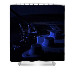 Guitar Blues Shower Curtain by Linda Bianic