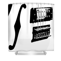 Guitar Graphic In Black And White  Shower Curtain by Chris Berry