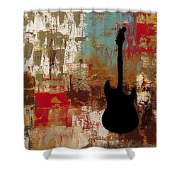 Guitar Solo Shower Curtain by Carmen Guedez