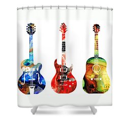 Guitar Threesome - Colorful Guitars By Sharon Cummings Shower Curtain by Sharon Cummings