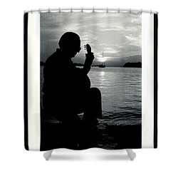 Guitarist By The Sea Shower Curtain by The Art of Alice Terrill