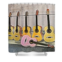 Shower Curtain featuring the digital art Guitars by Erika Weber