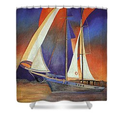 Gulet Under Sail Shower Curtain by Tracey Harrington-Simpson