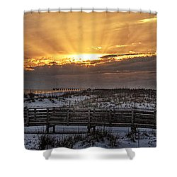 Gulf Shores From Pavilion Shower Curtain by Michael Thomas