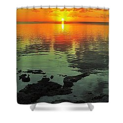 Gulf Sunset Shower Curtain by Benjamin Yeager