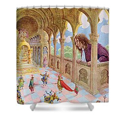 Gulliver At Lilliput Shower Curtain by Jacques Onfray de Breville