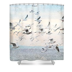 Gulls Flying Over The Ocean Shower Curtain by Peggy Collins
