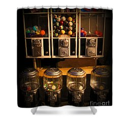 Gumball Memories - Row Of Antique Vintage Vending Machines - Iconic New York City Shower Curtain
