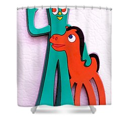 Gumby And Pokey B F F Shower Curtain by Rob Hans