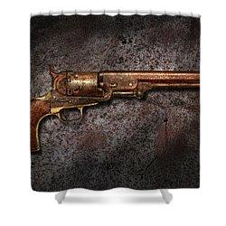 Gun - Colt Model 1851 - 36 Caliber Revolver Shower Curtain by Mike Savad