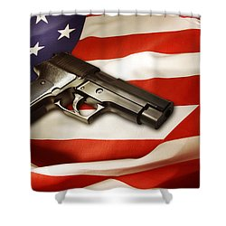 Gun On Flag Shower Curtain