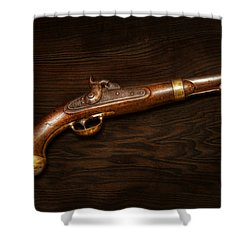 Gun - Us Pistol Model 1842 Shower Curtain by Mike Savad
