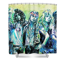 Guns N' Roses - Watercolor Portrait Shower Curtain