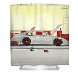 Guys Back At The Shop Shower Curtain