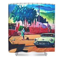 Shower Curtain featuring the painting Guys Dolls And Pink Adobe by Art James West