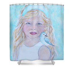 Gwyneth Little Earth Angel Of Happiness Shower Curtain by The Art With A Heart By Charlotte Phillips