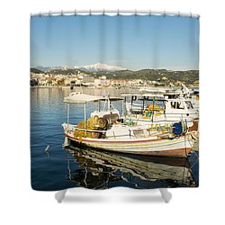 Gytheion Harbour Shower Curtain by Mike Santis