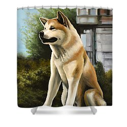 Hachi Painting Shower Curtain by Paul Meijering