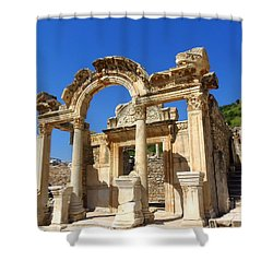 Shower Curtain featuring the photograph Hadrian Temple Ephesus by Lou Ann Bagnall