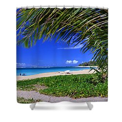 Haena Beach Turquoise Cove Shower Curtain by Marie Hicks