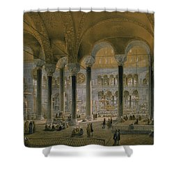 Haghia Sophia, Plate 6 The North Nave Shower Curtain by Gaspard Fossati