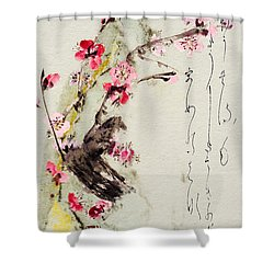 Haiga My Spring Too Is An Ecstasy Shower Curtain by Peter v Quenter