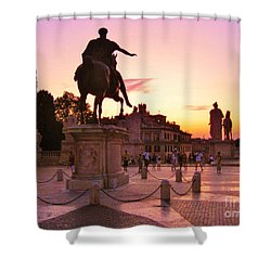 Hail To All The Little Tourists Shower Curtain by John Malone