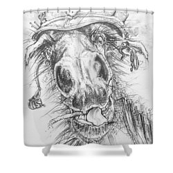 Hair-ied Horse Soilder Shower Curtain by Scott and Dixie Wiley