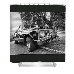 Halcyon Days - 1971 Chevy Pickup Bw Shower Curtain