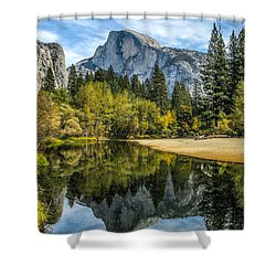 Half Dome Reflected In The Merced River Shower Curtain by John Haldane