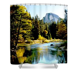 Half Dome Yosemite River Valley Shower Curtain by Bob and Nadine Johnston