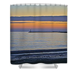 Half Moon Bay Under The Moon At Sunset Shower Curtain