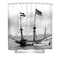 Half Moon Re-entered Hudson River After An Absence Of 300 Years In Black And White Shower Curtain